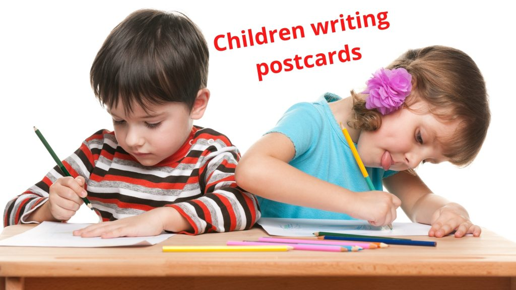 children writing postcards